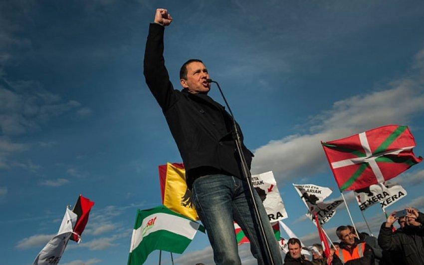 Basque political prisoner and Sortu secretary-general Arnaldo Otegi after his release from prison in March last year.