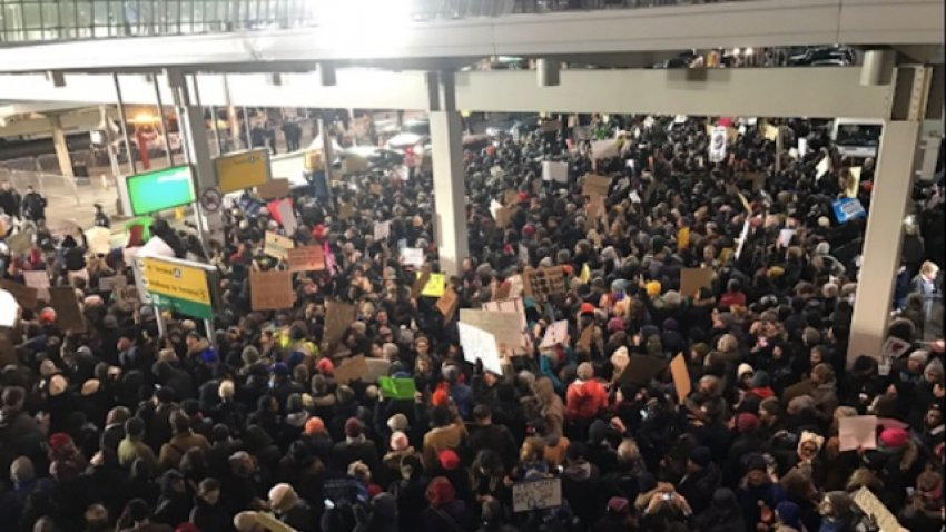 Huge crowds gathering at JFK airport in New York on January 28.