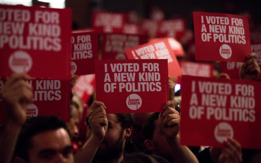 Supporters of Momentum, which helps organise supporters of Jeremy Corbyn's agenda.