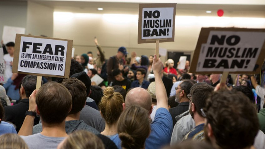 Protest against Trump's anti-Muslim immigration ban in Los Angeles.