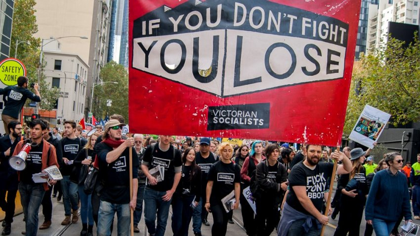 A contingent of Victorian Socialist members at a union rally