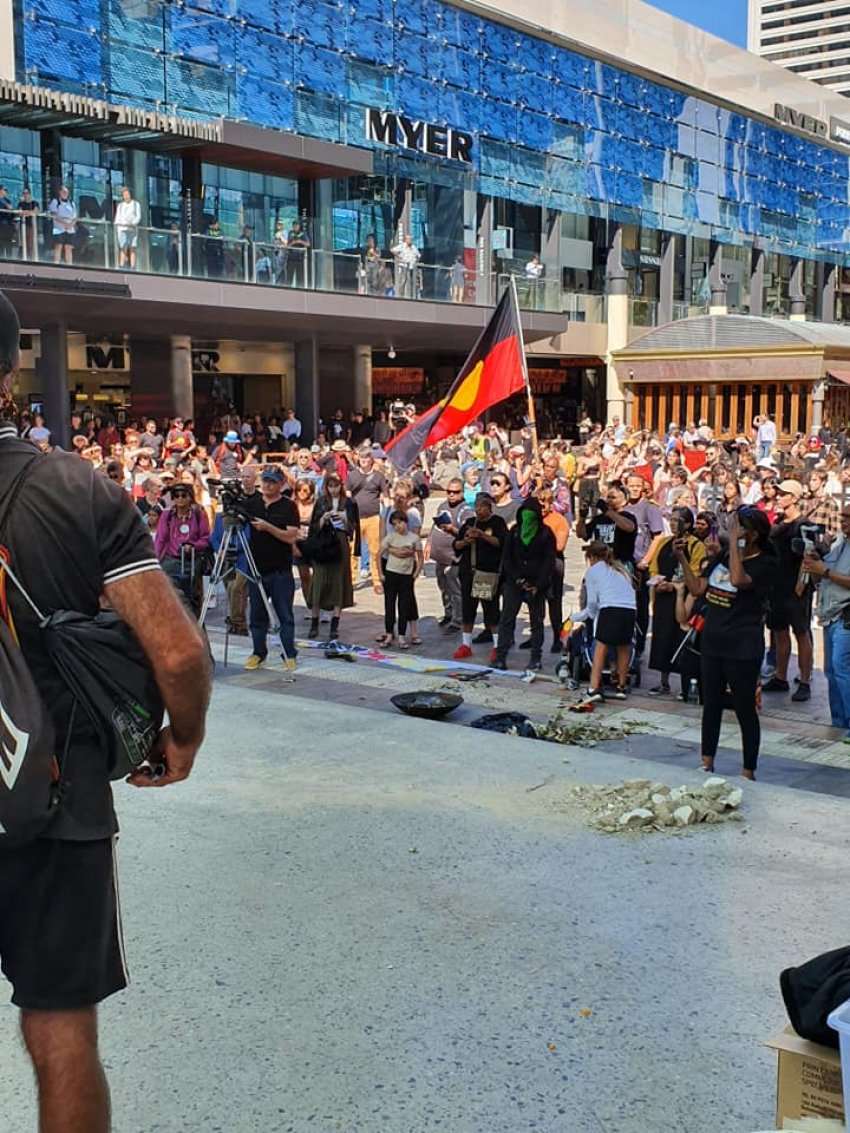 End Black deaths in custody protest in Perth on April 15. Photo: Alex Salmon