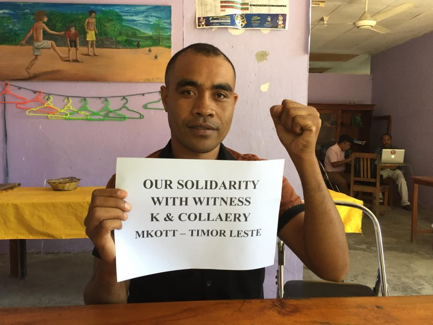 'Our solidarity with Witness K & Collaery'