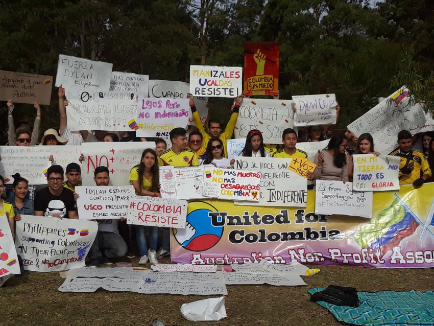 A Colombia solidarity protest in Sydney on November 24.