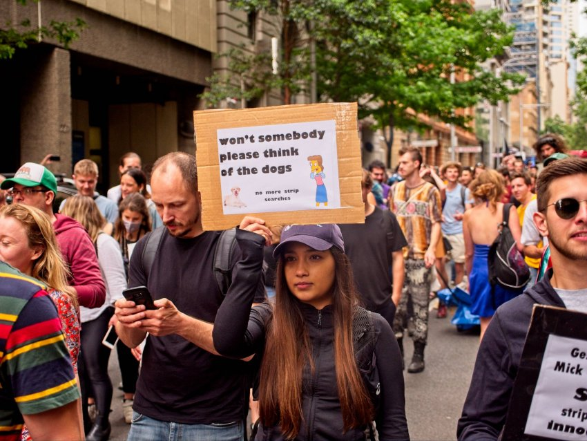 A Pill testing saves lives rally in Sydney on November 23.