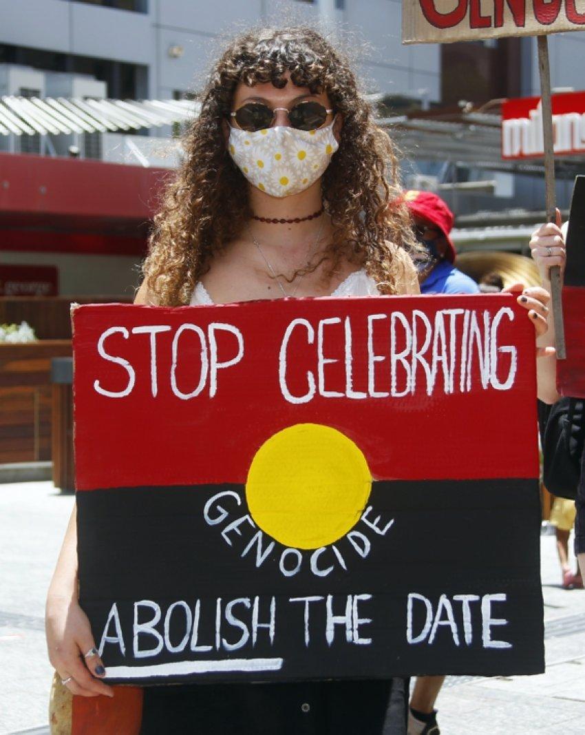 Brisbane Invasion Day 2021 protest. Photo: Alex Bainbridge