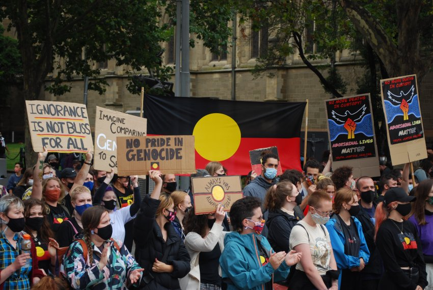 Melbourne Invasion Day 2021 protest: Photo: Chloe DS