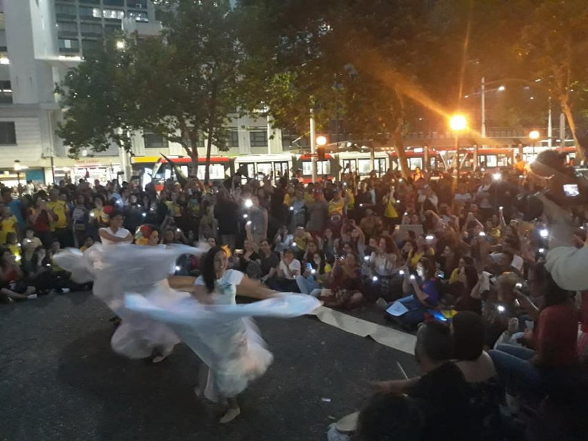Sydney in solidarity with Colombia's National Strike on November 21.