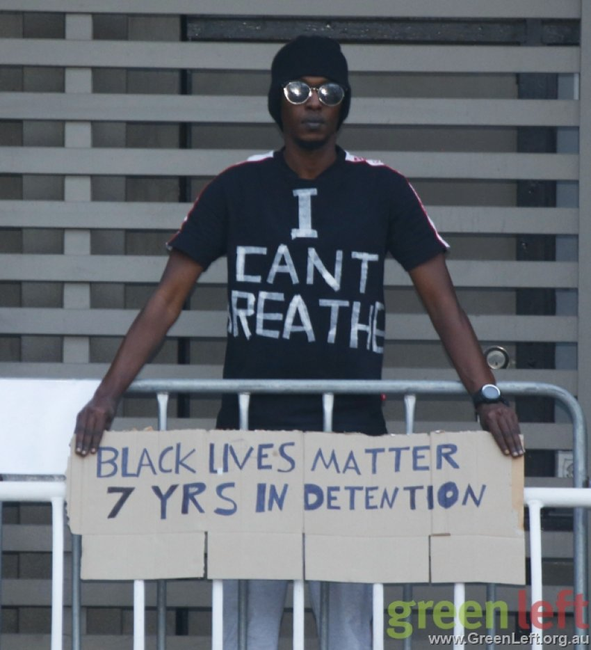 I can't breath: Black Lives Matter. Free the refugees.