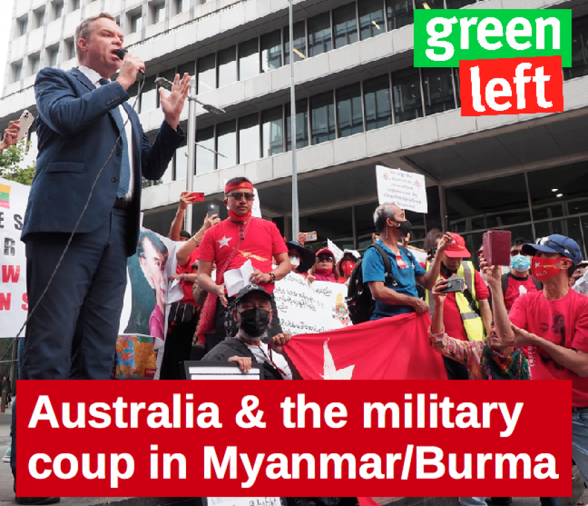 NSW Greens MLC Jamie Parker speaks at a rally for democracy in Myanmar, in Sydney.