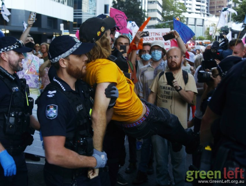 Police arrest peaceful protester