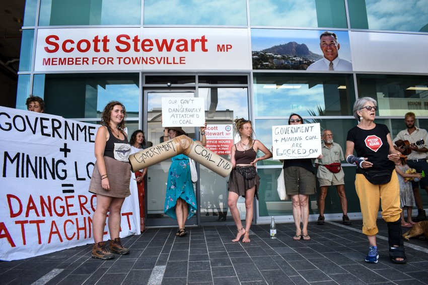 A protest at the office of Townsville MP Scott Stewart on November 1.
