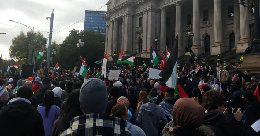 Rallying outside parliament
