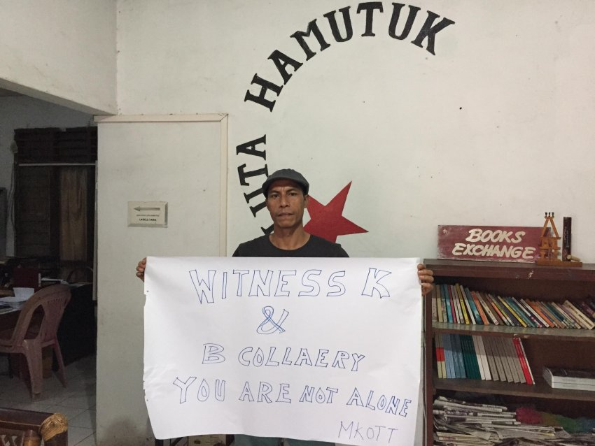 'Our solidarity with Witness K & Colleary'