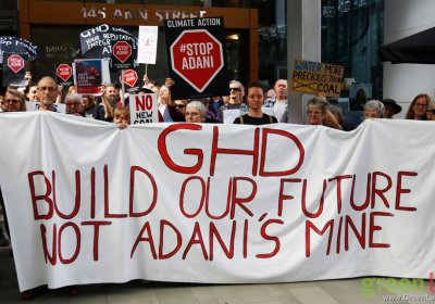 Protest outside the Brisbane headquarters of Adani contractor GHD Engineering on August 1.