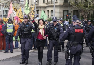 An Extinction Rebellion protest in Melbourne on October 8