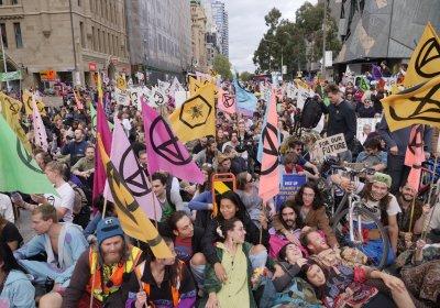 An Extinction Rebellion protest in Melbourne on October 7.