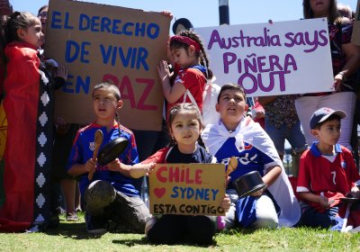A Chile solidarity protest in Sydney on October 27.