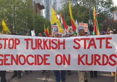 A protest against Turkey's invasion of Rojava, in Melbourne on October 12.