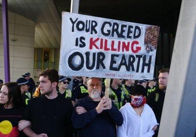 Blocakde IMARC protest in Melbourne on October 30.
