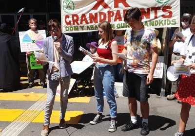 School Strike 4 Climate WA activists speak at Blockade RTS in Perth on November 27.