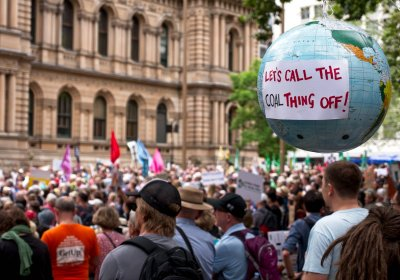 A climate action protest in Sydney on February 22.