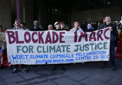 Protesters blockade the IMARC mining conference in Melbourne on October 29.