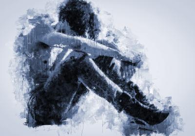 Man head between knees depressed watercolour