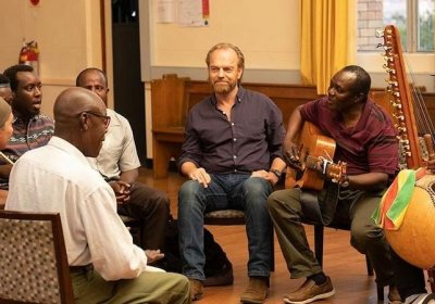 Hugo Weaving and Andrew Luri experiencing the healing quality of music in Hearts and Bones