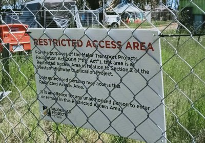 Sign warning visitors not to enter the site. Photo: Alex Milne