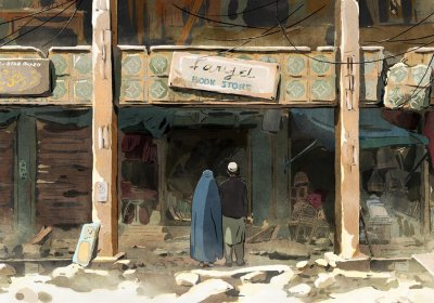 Mohsen and Zunaira outside the ruins of their favourite bookshop in The Swallows of Kabul