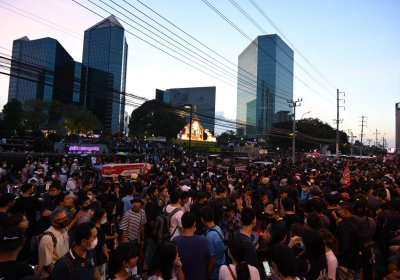 Democracy protest outside Siam Commercial Bank Bangkok