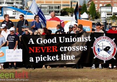 A ferry workers strike in Brisbane on December 6, 2018.