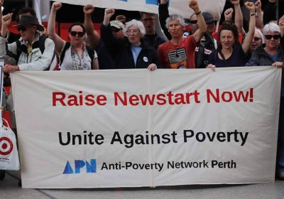 An Anti-Poverty Week rally in Perth in 2008.