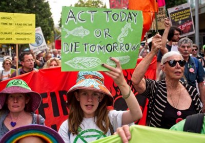 A protest for climate action in Parramatta on January 14.