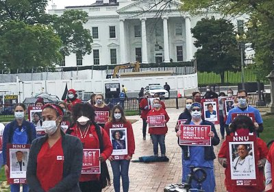 Health workers protest outside White House