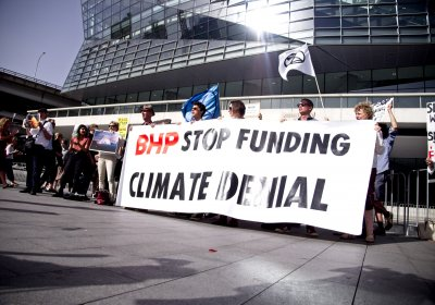 A protest outside BHP's AGM, in Sydney on November 7.