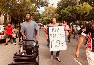 Justice for Patrick Fisher rally in Sydney on February 11, 2018.