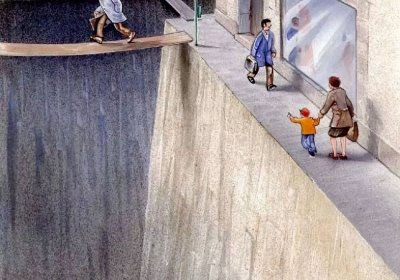 Illustration showning the space on streets surrendered to cars