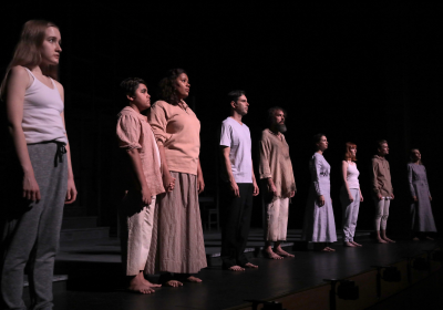 The cast of York telling the history of racist murder in the early settlement of the district