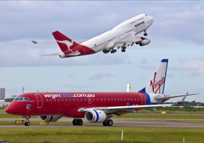 Virgin and Qantas planes