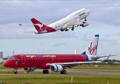 Virgin and Qantas planes