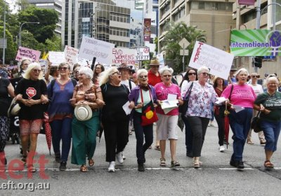 Participants in the 1978 Brisbane IWD rally led the march