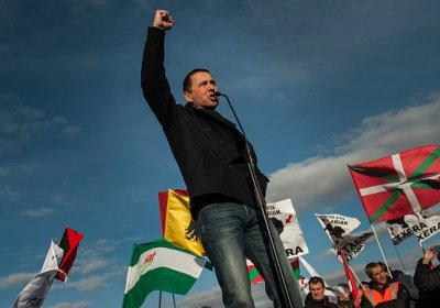 Basque political prisoner and Sortu secretary-general Arnaldo Otegi after his release from prison in March last year.