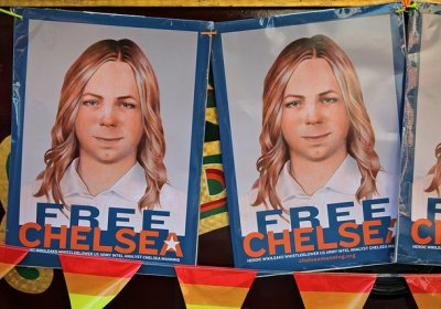 Free Chelsea Manning banners.