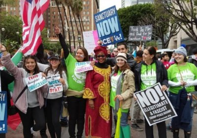 An immigrant rights march in Los Angeles.