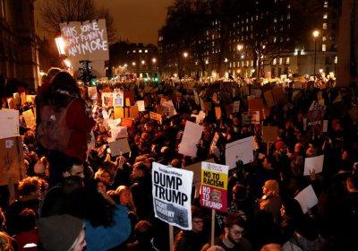 London protest against Trump's visit.