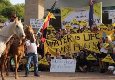 Protesters outside the NT Labor Party conference