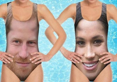Prince Harry and Meghan Markle's faces printed on to swimsuits
