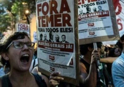 Protesters against the Temer government's extreme austerity plans in Rio on October 17